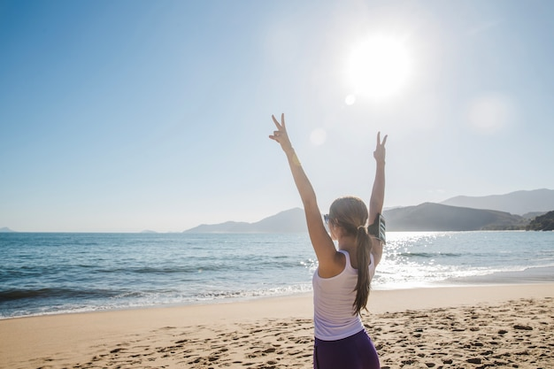 Young woman celebrating the victory Free Photo