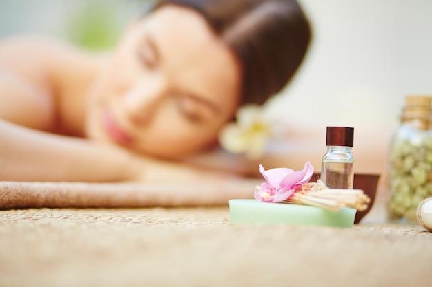Young woman enjoying a beauty treatment Free Photo