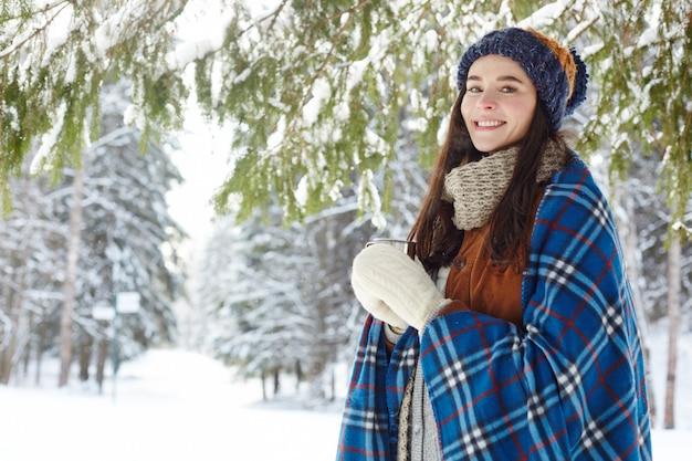 Young woman enjoying winter resort Free Photo