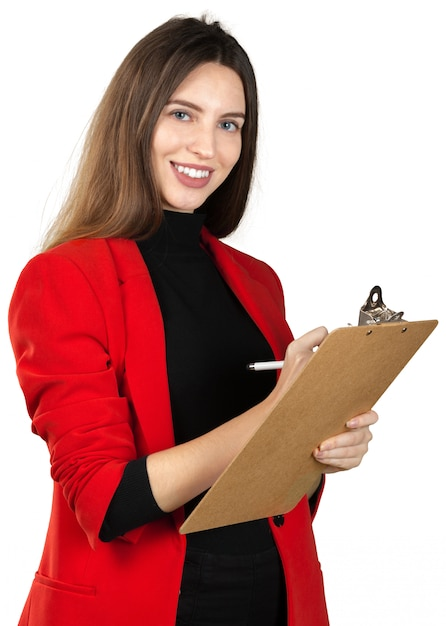 Young woman in formal outfit holding a stack of documents isolated on white Premium Photo