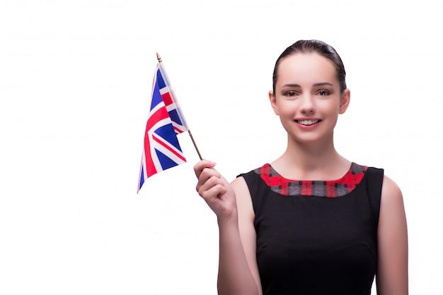 Young woman holding british flag Premium Photo