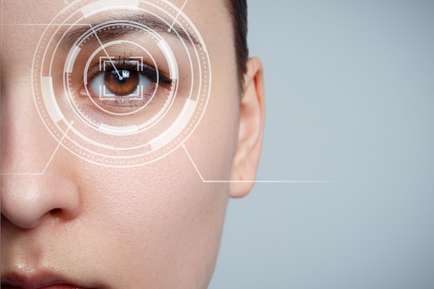The young woman 's eye is close-up. the concept of the new technology is iris recognition. Premium Photo