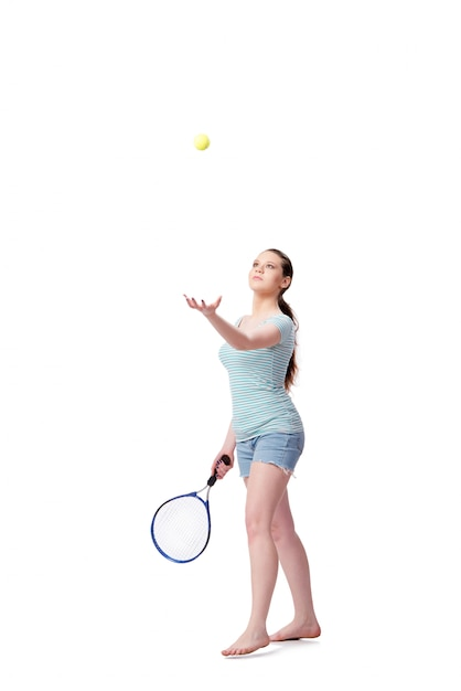 Young woman in sports concept isolated Premium Photo