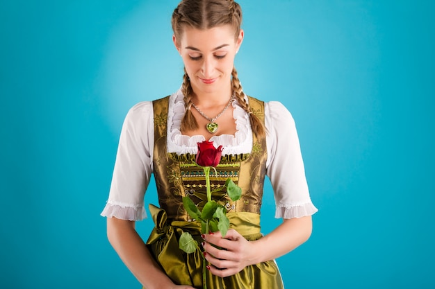 Young woman in traditional clothes - dirndl or tracht Premium Photo