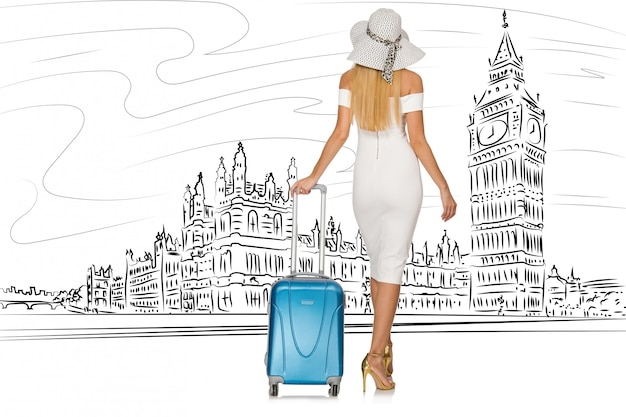 Young woman travelling to london in uk Premium Photo