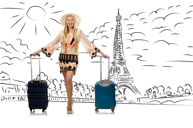 Young woman travelling to paris Premium Photo