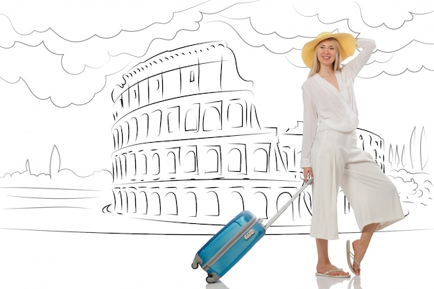 Young woman travelling to rome in italy Premium Photo