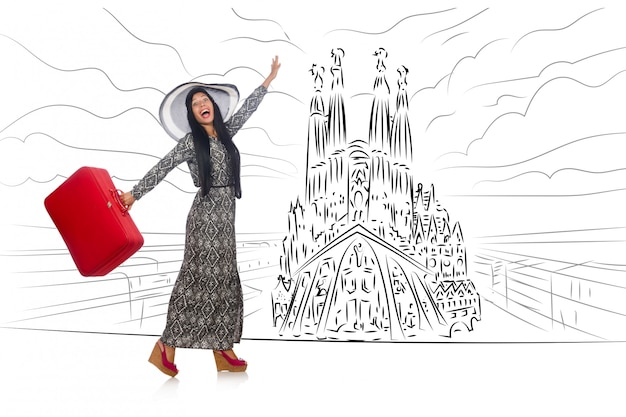 Young woman travelling to spain to see sagrada familia Premium Photo