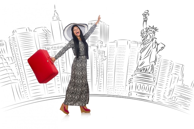 Young woman travelling to usa Premium Photo