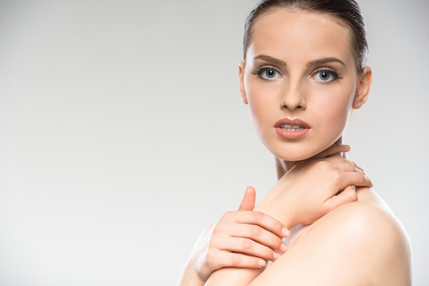 Young woman with clean fresh skin Premium Photo