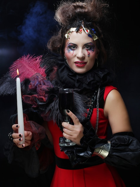 Young woman with creative make up. halloween theme. Premium Photo