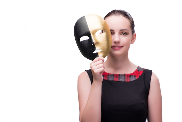 Young woman with mask isolated on white Premium Photo
