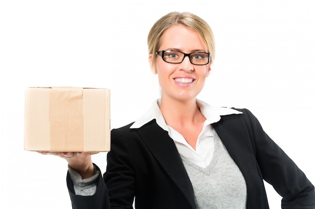 Young woman with a parcel Premium Photo