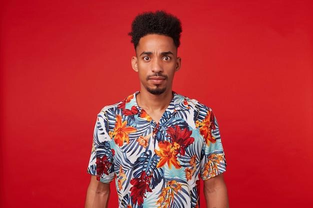 Янг удивился, афроамериканец, одетый в гавайскую рубашку, смотрит в камеру с удивленным выражением лица и широко открытыми глазами, стоит на красном фоне. Бесплатные Фотографии