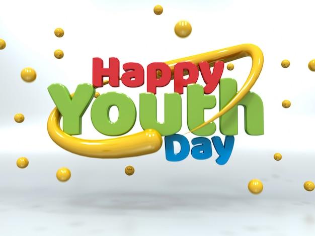 День молодежи 3d красочный текст, плавающий на белом Premium Фотографии