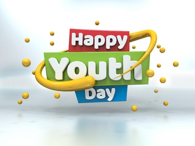 День молодежи 3d белый текст, плавающий на белом Premium Фотографии