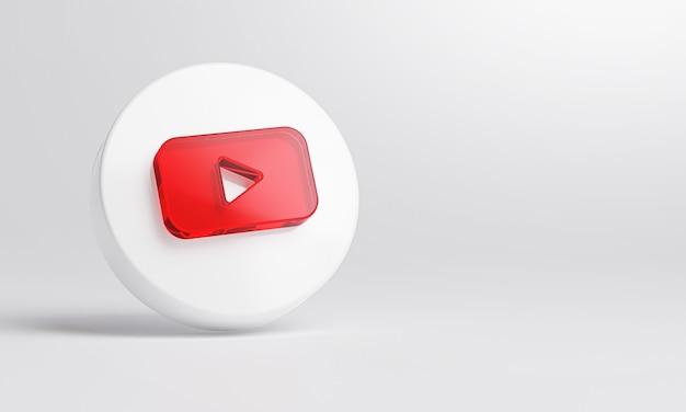 흰색 배경 3d 렌더링에 Youtube 아크릴 유리 아이콘. 프리미엄 사진