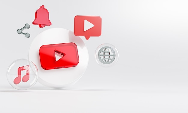 Youtube 아크릴 유리 로고 및 소셜 미디어 아이콘 복사 공간 3d 프리미엄 사진