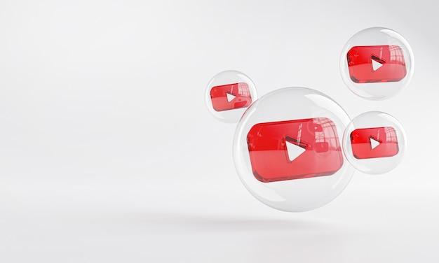 거품 유리 복사 공간 3d 안에 Youtube 아크릴 아이콘 프리미엄 사진