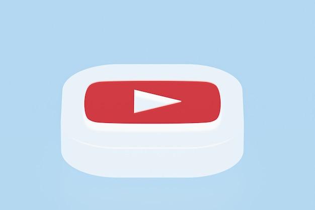 Логотип приложения youtube 3d-рендеринг на синем фоне Premium Фотографии