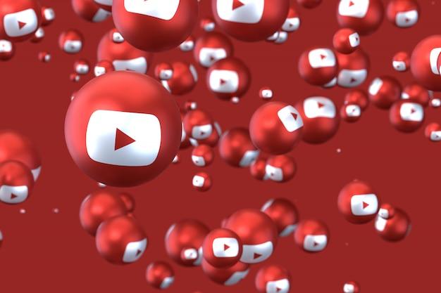 Реакции youtube emoji 3d визуализации, символ социальных медиа шар с иконками youtube Premium Фотографии