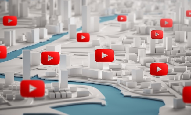 Youtube icon over aerial view of city buildings 3d rendering Premium Photo