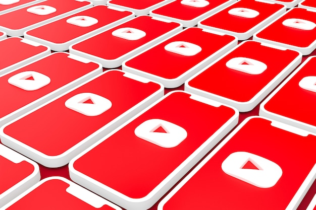 화면 스마트 폰 또는 모바일 3d 렌더링에 유튜브 로고 배경 프리미엄 사진
