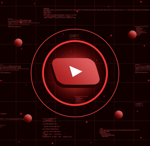 현실적인 기술 배경에 Youtube 로고 프리미엄 사진