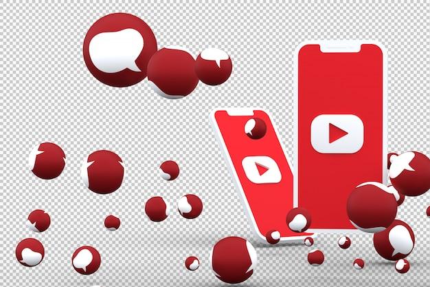 Значок youtube на экране смартфона и youtube реакции любви emoji 3d визуализации на прозрачном фоне Premium Фотографии
