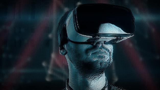 バーチャルリアリティメガネのデジタル障害を持つyyoung男 Premium写真