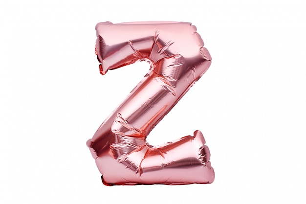 Буква z из розового золота надувной гелиевый шар изолирован на белом. золотая розовая фольга шар шрифт часть полного алфавита набор заглавных букв. Premium Фотографии