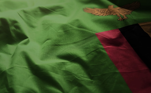 Zambia flag rumpled close up Photo | Premium Download