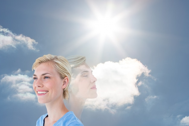 Zen content sunny cloudy blue sky Free Photo
