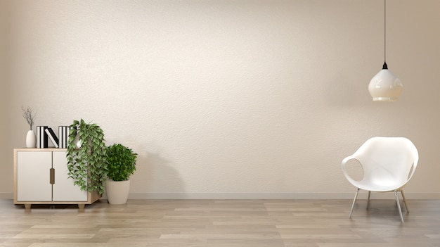 Zen living room empty white wall background with decoration japan style. Premium Photo