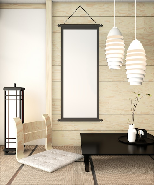 Zen room interior wooden wall on tatami mat floor with poster frame, low table and armchair Premium Photo