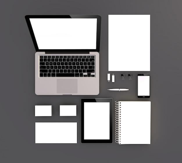 Zenith view of blank mock up Premium Photo