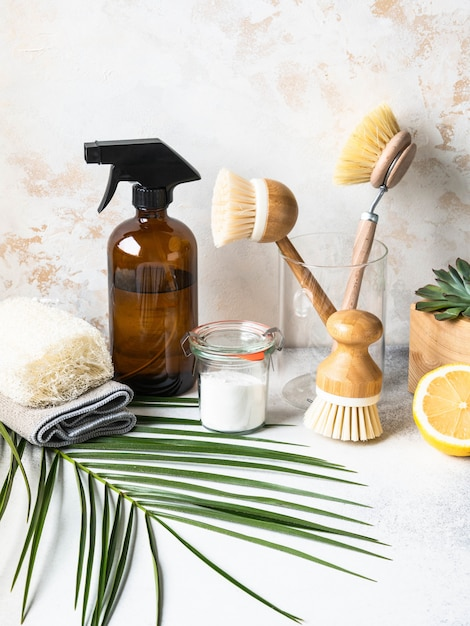 Zero waste home cleaning concept. various items and ingredients for eco home cleaning Premium Photo