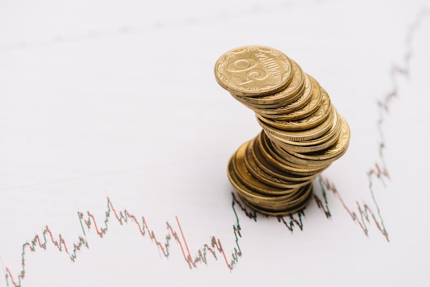 Zig zag golden coin stack over the financial stock market graph Free Photo