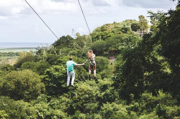 Zip line mauritius island Premium Photo