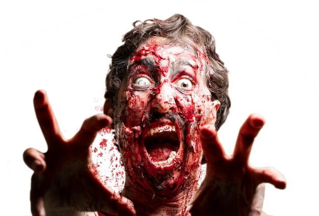 zombi with a white eye and raised hands photo free download