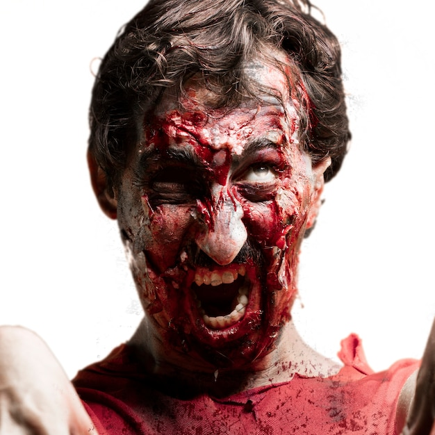 Zombie closely with mouth open Free Photo