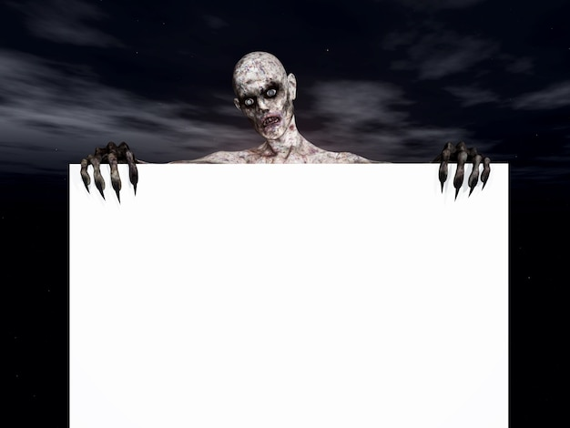 Zombie figure holding a blank sign Free Photo