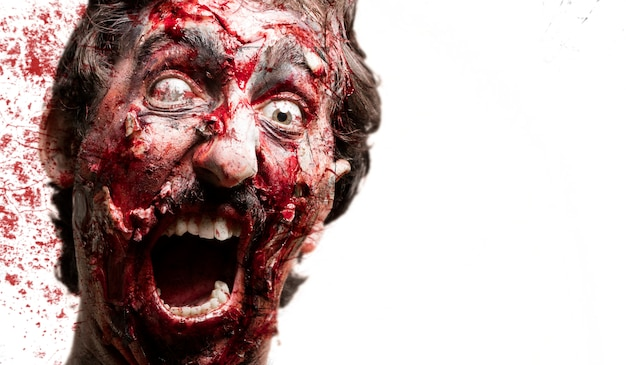 Zombie with blood behind Free Photo