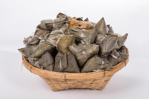 Zongzi, rice dumpling or sticky rice dumpling Premium Photo