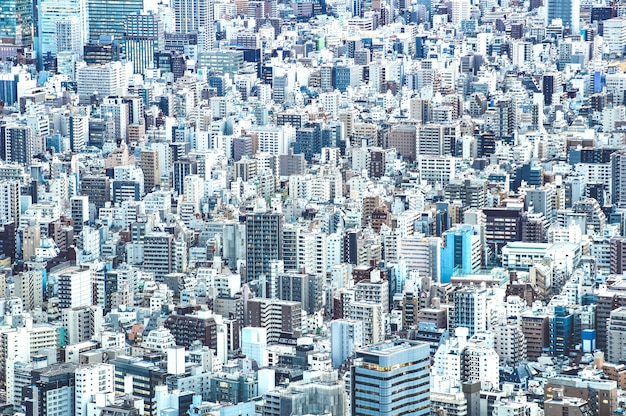 Zoom detail close up of tokyo city skyline from above at blue hour Premium Photo