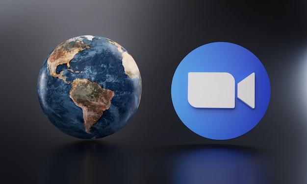 Zoom logo beside earth 3d rendering. Premium Photo