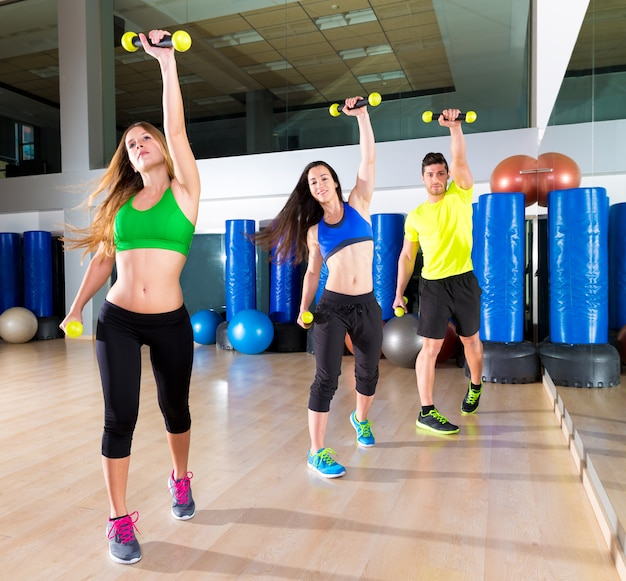 Zumba dance cardio people group at fitness gym Premium Photo