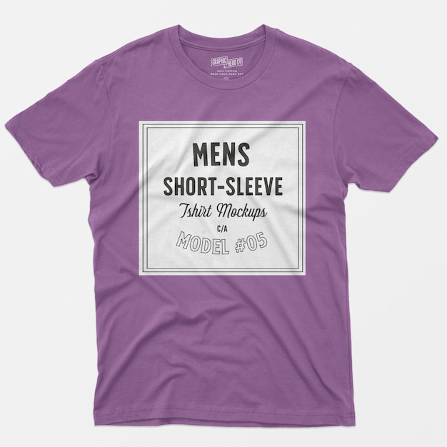Мужские макеты с коротким рукавом футболки 05 Бесплатные Psd