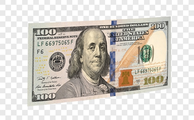100 american dollars isolated Premium Psd