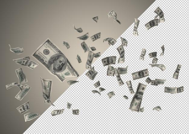 Доллары денежный дождь - сотни 100 долларов падают сверху Premium Psd